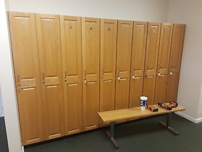 1 Tier 1 Wide Oak Lockergymschool Cabinet Two Heights And Benchs Available
