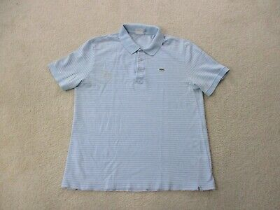 Lacoste Polo Shirt Adult Extra Large Size 7 Blue Pink Crocodile Casual Rugby Men