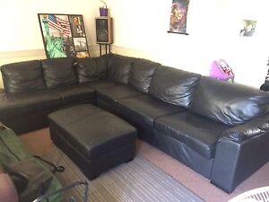 Leather corner lounge/ sofa bed Loganlea Logan Area Preview