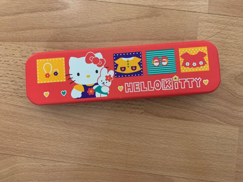 RARE Vintage 1996 Sanrio Hello Kitty Metal Pen & Pencil TIN Case Container Red