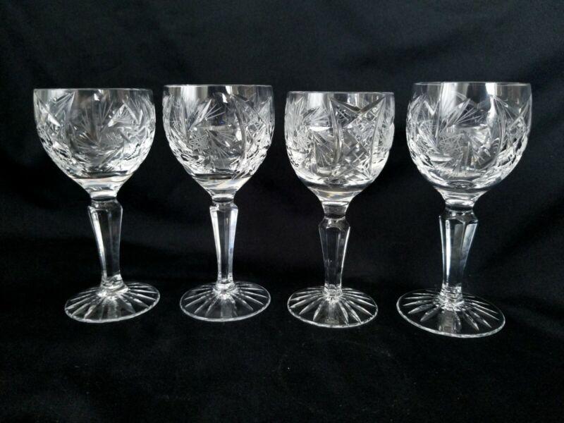 "Four (4) Pinwheel Hand Cut Handblown Crystal Port Sherry Wine Glasses 5¼"""