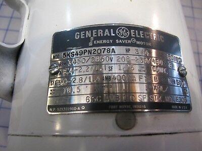 GE Energy Saver WASHDOWN Motor 5KS49PN2078A .75 HP 3450 / 2850 RPM