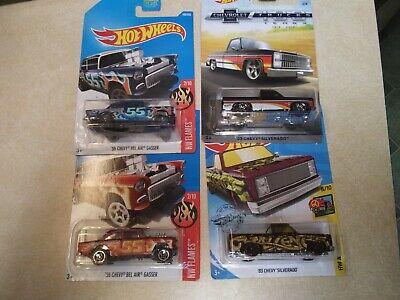 Hot Wheels 55 Gasser X2 + 83 Chevy Silverado X2 free shipping
