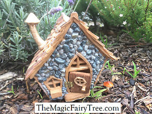 Fiddlehead Shingletown Cottage Style Wooden Gnome Fairy House with opening door
