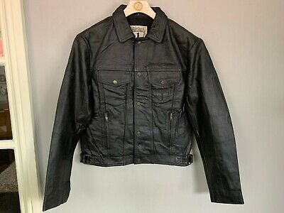 VINTAGE 1980's GERMAN HIGHWAY 1 LEATHER MOTORCYCLE JACKET SIZE S