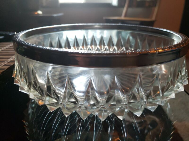 Vintage Heavy Pressed Cut Crystal Nut/Candy Bowl With Silver Rim Made in England