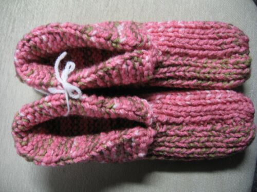 """New Amish Handmade Hs Slippers Camo Pink & Green Wms Lg Mans Med 9 3/4"""""""