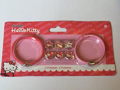 Hello Kitty Sanrio Girls Rubber Bracelets & Charm Set Pink Red Pocket Money Toy