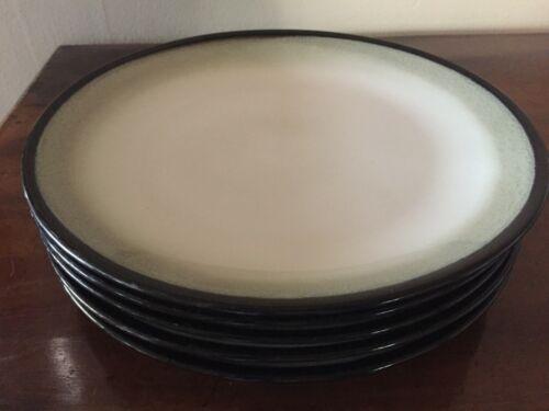 "Set of 5 Sango Black Nova 10 3/8"" Dinner Plates"