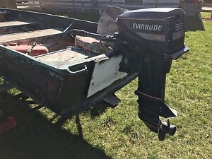12 Ft Aluminum boat with trailer and 9.9 evinrude.