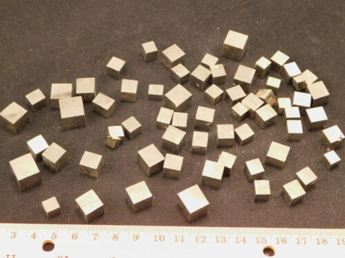 Lot of TEN 10 Small Natural PYRITE Crystal CUBES