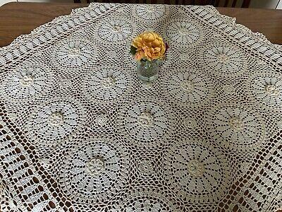 "Large Beige & Cream Crochet  Cotton Square Tablecloth 36"" SR582"