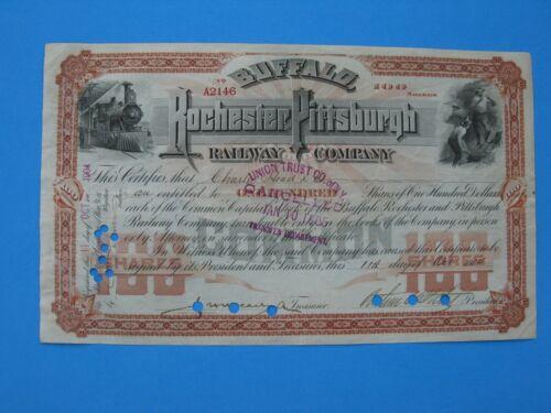Buffalo, Rochester & Pittsburgh Railway Company stock certificate BR&P