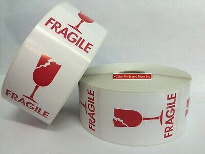 2x3 White Red Cracked Glass Fragile Labels 400 Labelsrolls