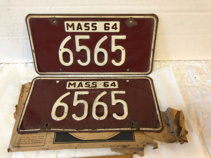 Pair Vintage Mass 64 Massachusetts 1964 License Plates 4 Digits 6565