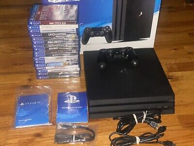Sony PlayStation 4 Pro / PS4 Pro 1TB Jet Black Console Bundle +17 Games