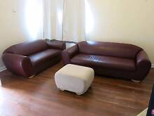 Leather Sofas - one 4 seater, one 3 seater plus foot stool Embleton Bayswater Area Preview