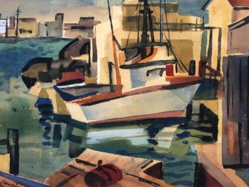 🔥 Antique Mid Century Modern Cubist California Harbor Ship Painting, Signed