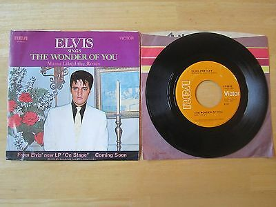 Elvis 45rpm record & Sleeve, The Wonder of You/Mama Liked The Roses, 1970