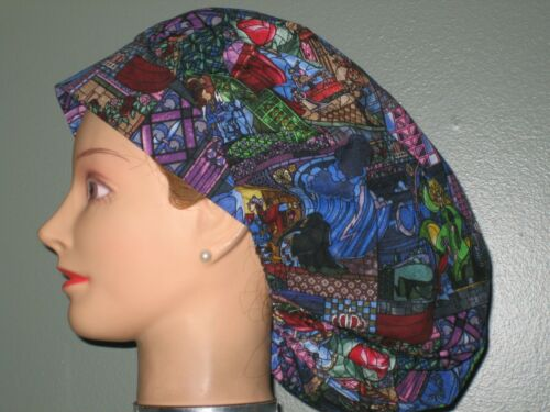 "Surgical Scrub Hats caps Disney ""Beauty and the Beast"" Stained Glass scene"