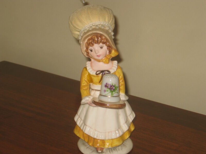 "Schmid ""The Creative Hand"" Porcelain Girl Pin Cushion/Thimble Holder"