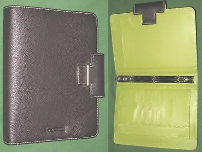 Classic 0.75 Brown Green S Leather Day Runner Planner Binder Franklin Covey