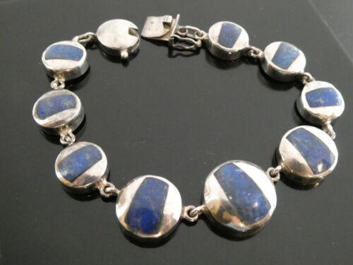"Modernist Vintage 950 Silver Lapis Lazuli Gemstone Linked Bracelet Size 7.5"""
