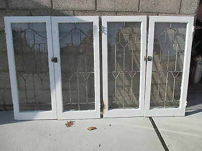 SET OF 4 ANTIQUE LEADED GLASS CABINET DOORS OAK 2 SETS ~ ARCHITECTURAL SALVAGE ~