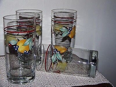 Fruit Design (Lot of FOUR Corelle Corning ABUNDANCE 16 fl. oz.Tumblers Coolers Fruit Design  )