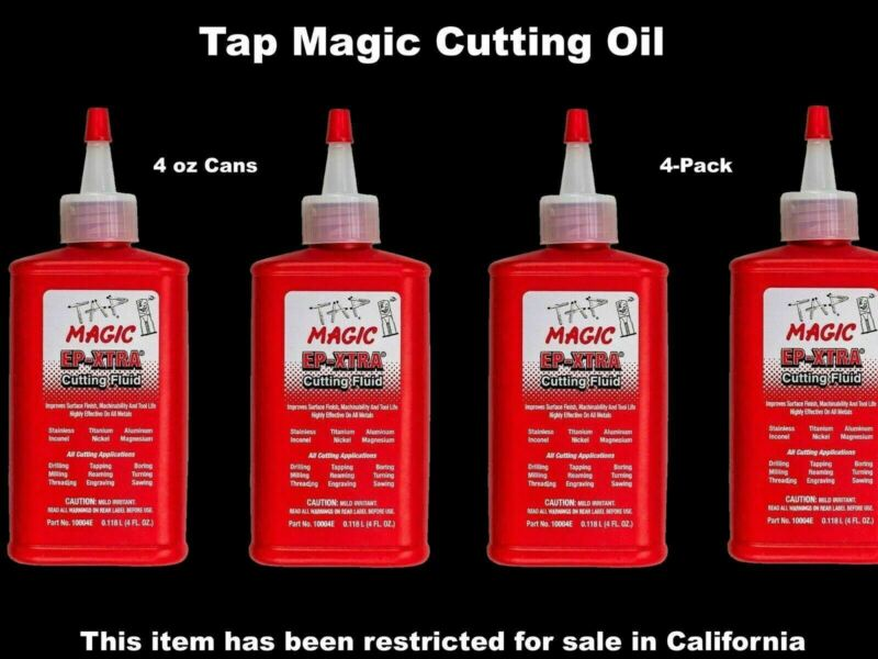 4-pack TAP MAGIC CUTTING OIL 4 oz. Spout Top Cans for Tapping Drilling Milling