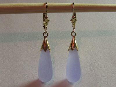 Lavender Jade Teardrop Drop Dangle Leverback Earrings 14K Yellow Gold Filled