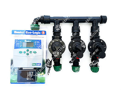Kit Irrigation Programmer 3 Zone Lawn Garden Solenoid Valve Hunter Elc