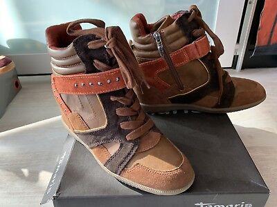 Schicke Tamaris Stiefeletten Stiefel Boots braun Leder Gr. 40 mit Karton 89,95€
