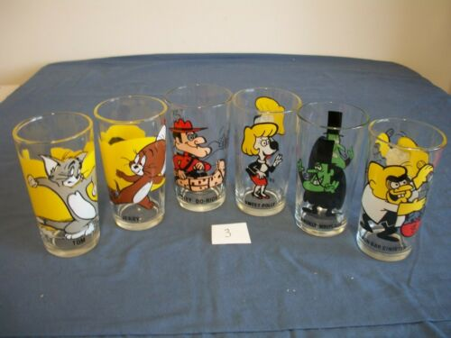 6 Pepsi Cartoon Collector Series Glasses, Dudley Do Right, Sweet Polly. More