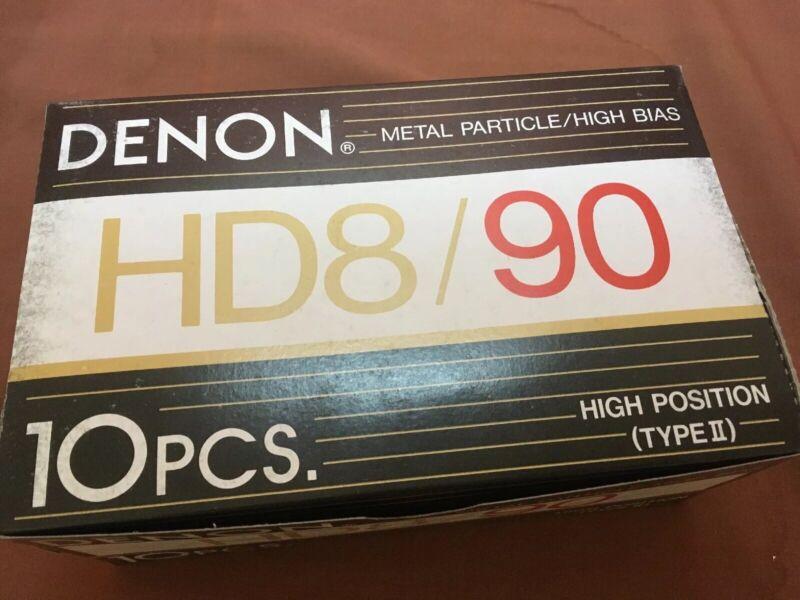 Box Of 10 Denon HD8-90 Metal Particle Audio Cassette Tapes Vintage NOS