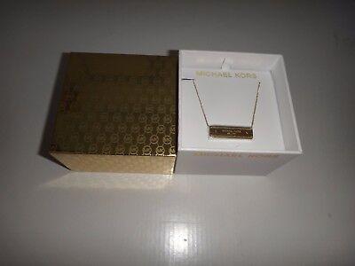 MICHAEL KORS Women's Outlets MK Logo Plaque Gold Tone Necklace MKJ5891710 + BOX