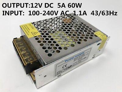 Dc12v 5a 60w Power Supply Regulator Transformer For Led Lightradioauto Testing