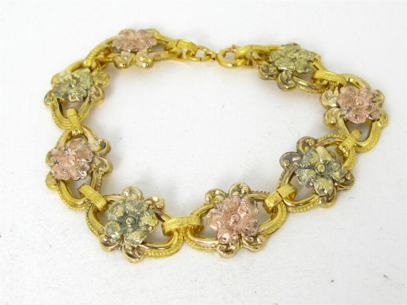 """Antique Victorian Gold Filled Floral Link Ladies Bracelet 16.9g 7""""L B19"""