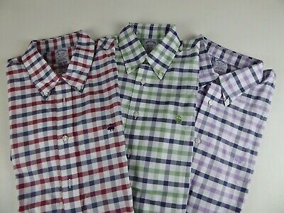 Gingham Plaid (Brooks Brothers SS Regent Gingham Plaid 100% Supima Cotton Sport Shirt $82 NWT)