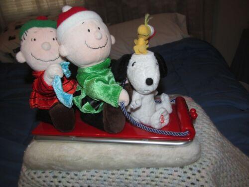 VTG GEMMY  Animated Musical Sleigh - SNOOPY CHARLIE BROWN LINUS - Peanuts Gang