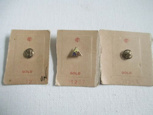 3 ANTIQUE TINY 10K GOLD KNIGHTS OF PYTHIAS LAPEL PINS UNUSED ON STORE CARDS OOS