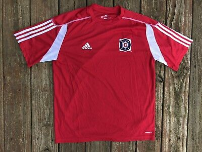 26776f19a0cec ClimaLite Red adidas climacool Chicago Fire MLS Soccer Jersey Men's Large L  Sewn