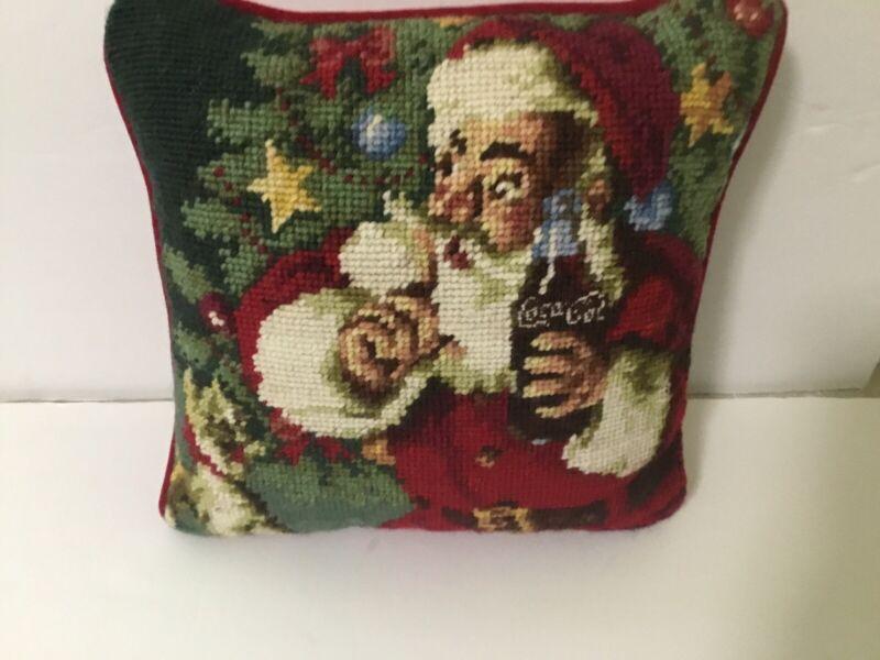 Coca Cola Santa Needlepoint Pillow 10x10