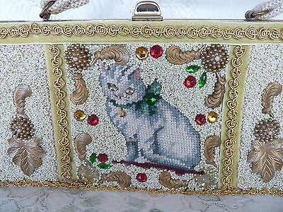 CARON of HOUSTON TEXAS HAND BAG PURSE Needlepoint CAT plus SEQUINS 1950's RARE