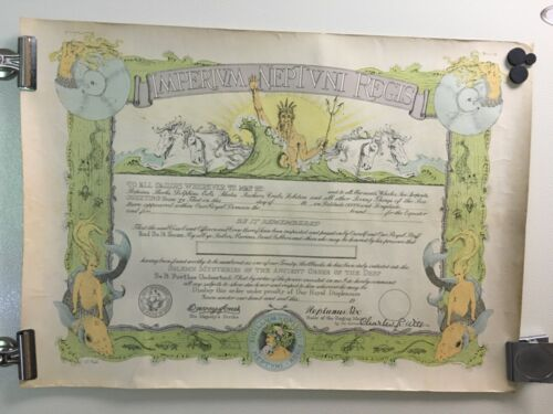 USS Omaha WWII 1941 Shellback Imperium Neptuni Regis Certificate Mermaid