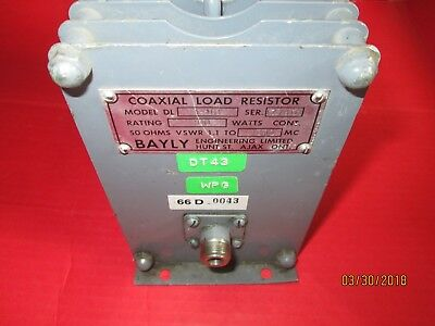 Bayly Model Dl 1-101 Coaxial Load Resistor Used Dummy Load 100 Watt 1.1 To 1000