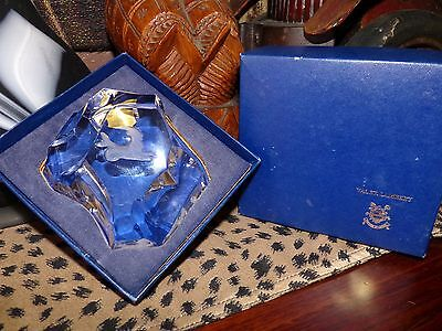 Val St Lambert Reverse Carved Frosted Art Glass Desk Paperweight~~With Box~~