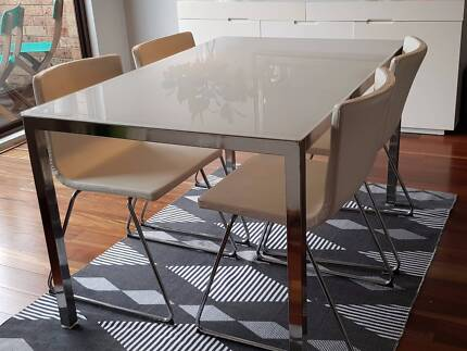 Table and x4 Chairs - Ikea Metal Frame and Glass Top