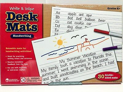 Learning Resources Write & Wipe Handwriting Desk Mats, Set of (Wipe Desk Mat)
