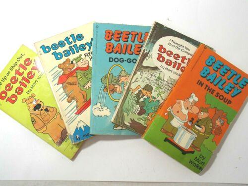 5 Vintage Beetle Bailey Paperback Books 1960-80